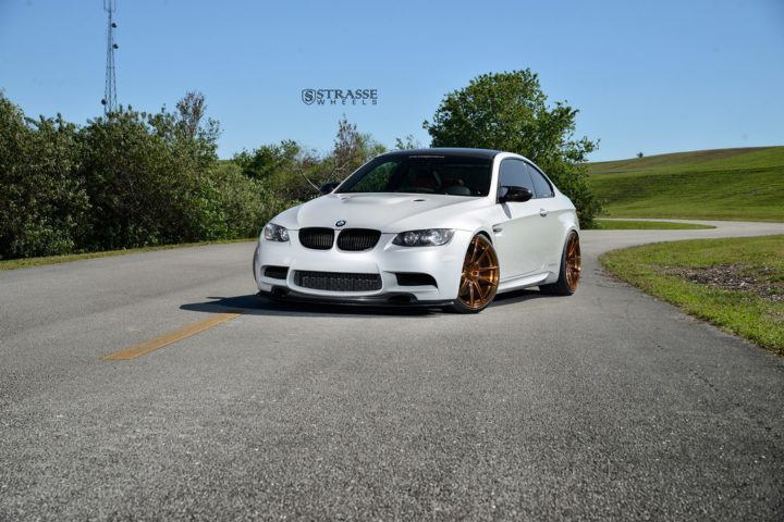 Strasse Wheels - Mineral White BMW E92 M3 - SV5 Deep Concave Monoblock 18