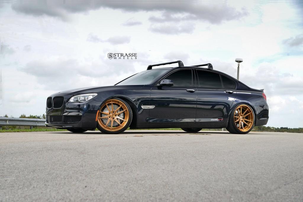 "Strasse Wheels - BMW F01 750 - Gloss Brushed Bronze 21"" SV1 Deep Concave FS Wheels 1"
