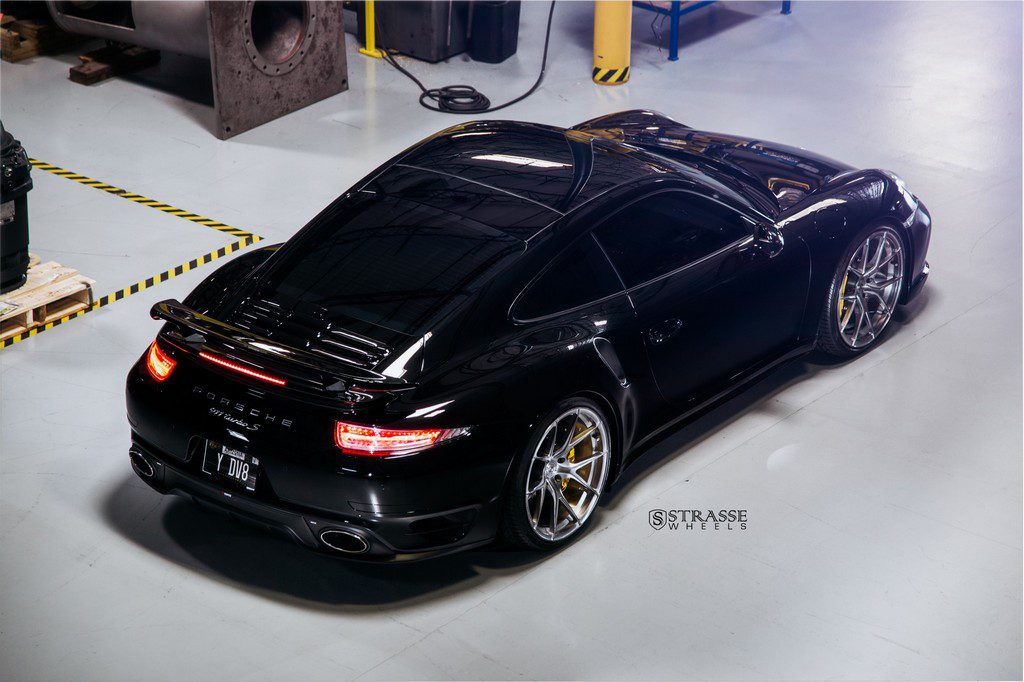 "Strasse Wheels - Porsche 991 Turbo S - 21"" SM5R Deep Concave Monoblocks - Gloss Brushed Titanium 10"