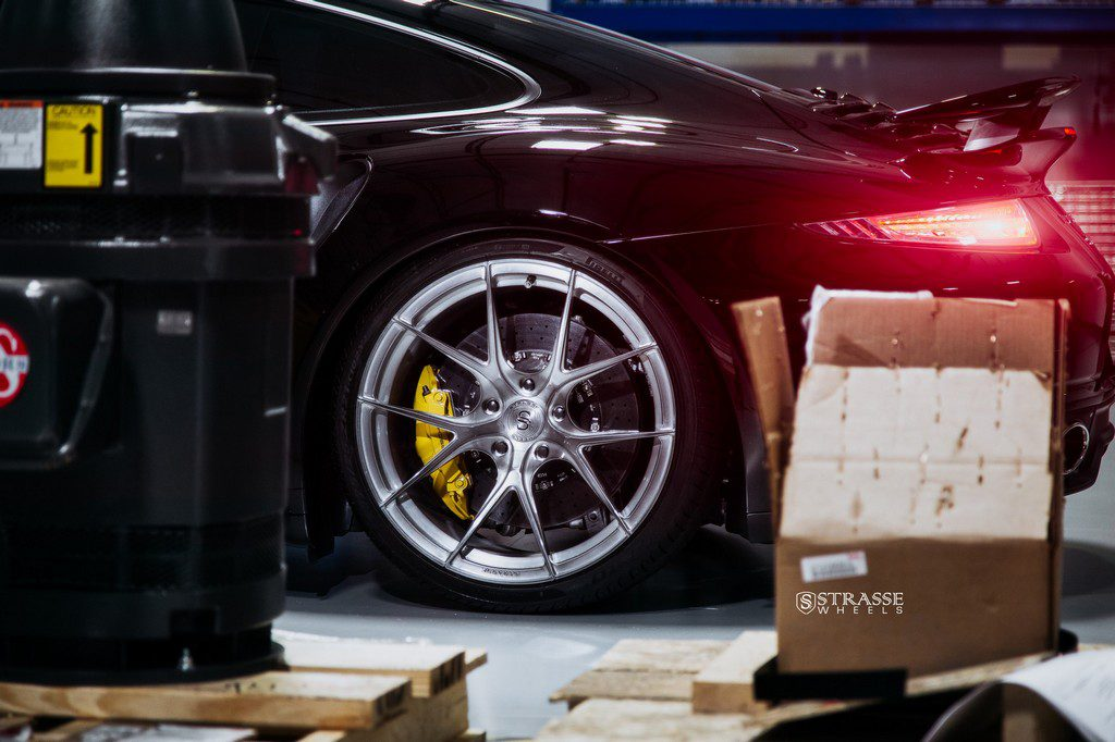 "Strasse Wheels - Porsche 991 Turbo S - 21"" SM5R Deep Concave Monoblocks - Gloss Brushed Titanium 11"