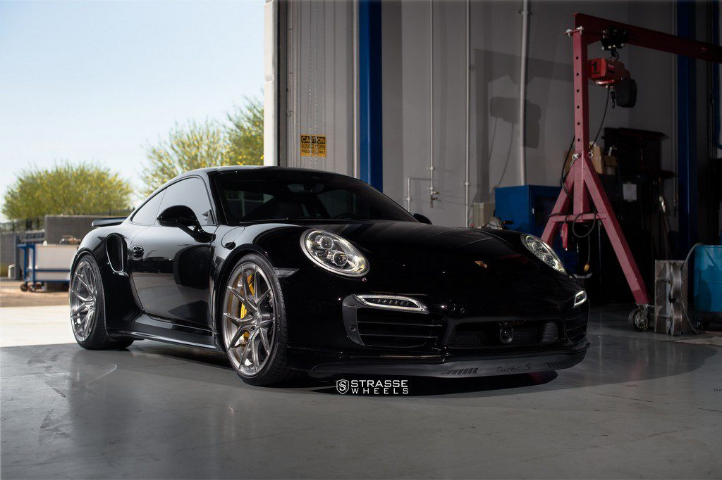 "Strasse Wheels - Porsche 991 Turbo S - 21"" SM5R Deep Concave Monoblocks - Gloss Brushed Titanium 6"