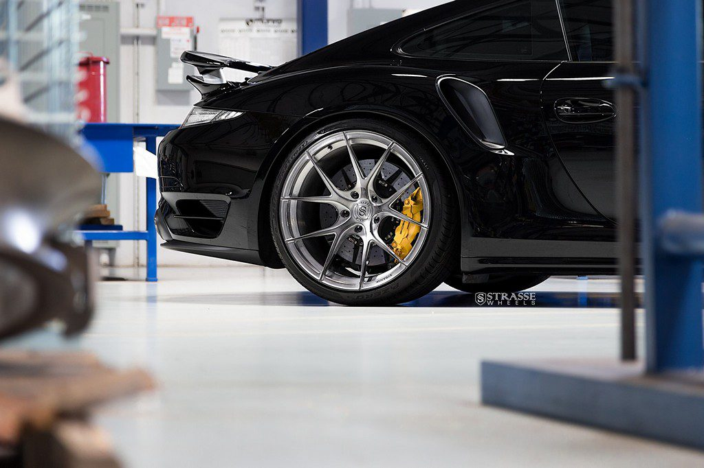 "Strasse Wheels - Porsche 991 Turbo S - 21"" SM5R Deep Concave Monoblocks - Gloss Brushed Titanium 9"